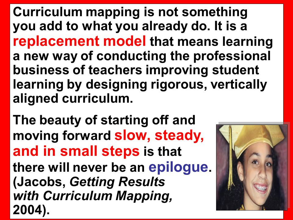 Curriculum mapping is not something you add to what you already do