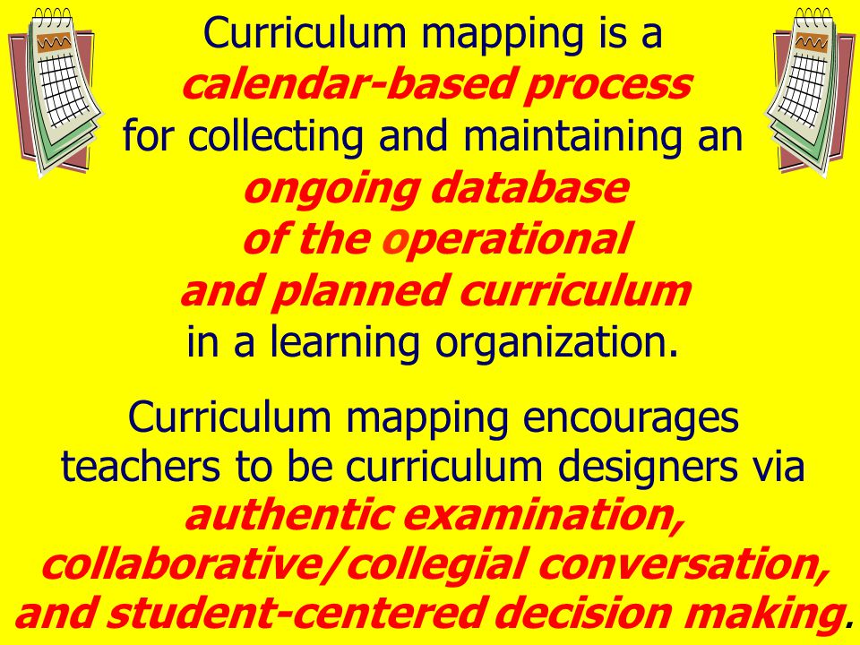 Curriculum mapping is a calendar-based process for collecting and maintaining an ongoing database of the operational and planned curriculum in a learning organization.