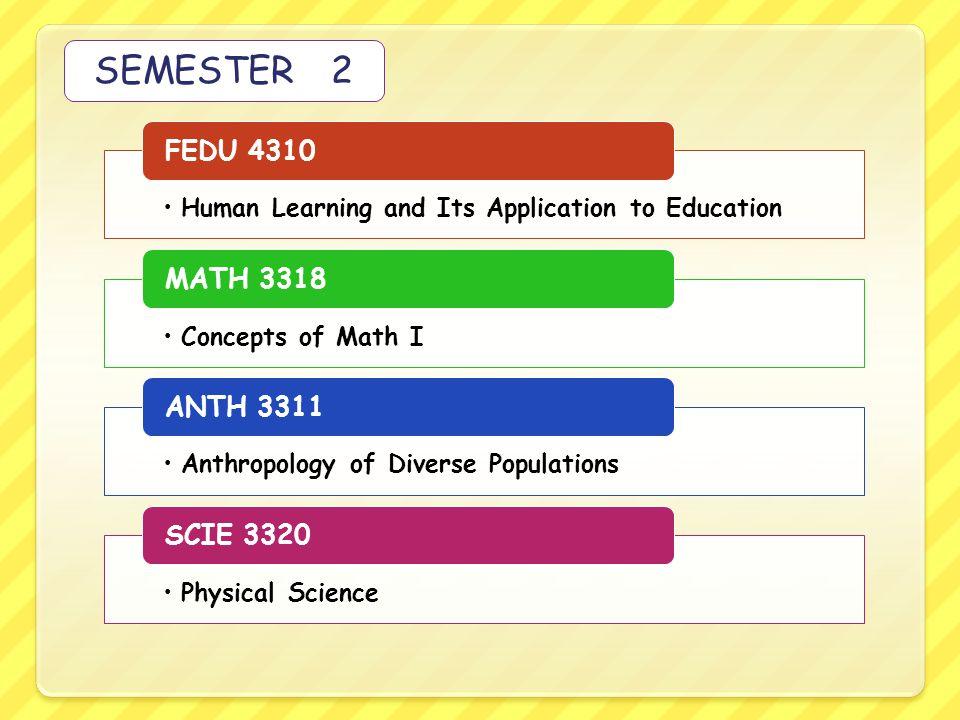SEMESTER 2 FEDU 4310 MATH 3318 ANTH 3311 SCIE 3320