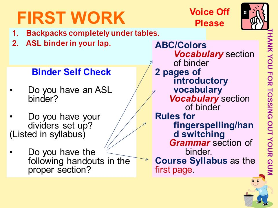 FIRST WORK Voice Off Please ABC/Colors Vocabulary section of binder