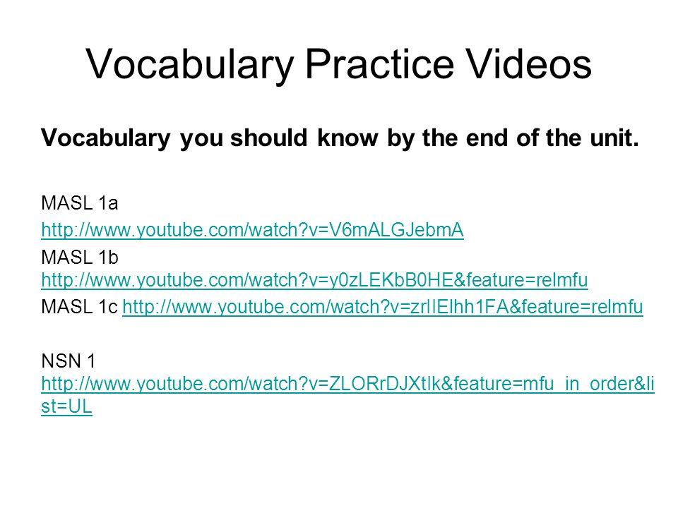 Vocabulary Practice Videos