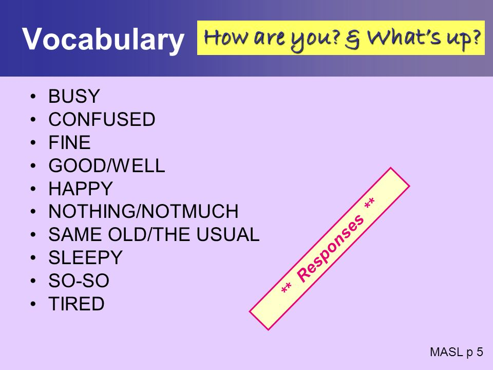 Vocabulary How are you & What's up BUSY CONFUSED FINE GOOD/WELL