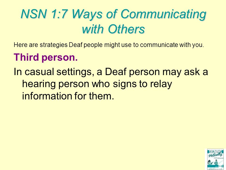 NSN 1:7 Ways of Communicating with Others