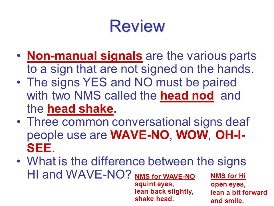 Review Non-manual signals are the various parts to a sign that are not signed on the hands.