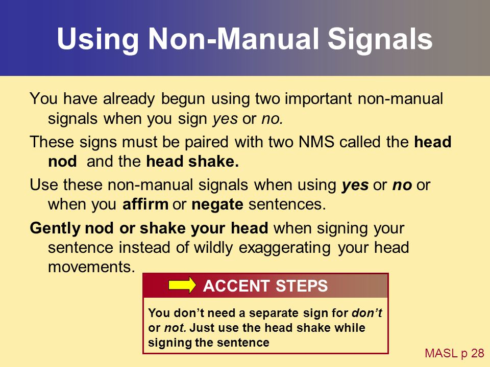 Using Non-Manual Signals