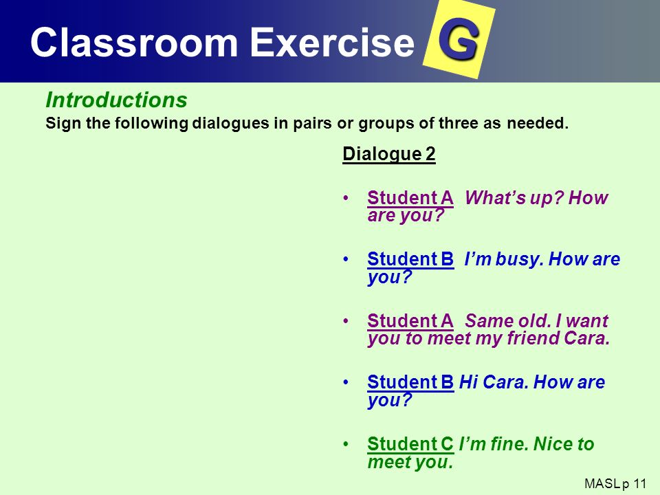 G Classroom Exercise Introductions Dialogue 2