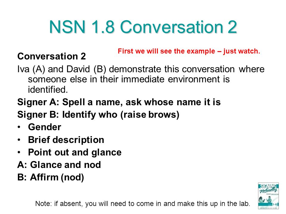 NSN 1.8 Conversation 2 Conversation 2