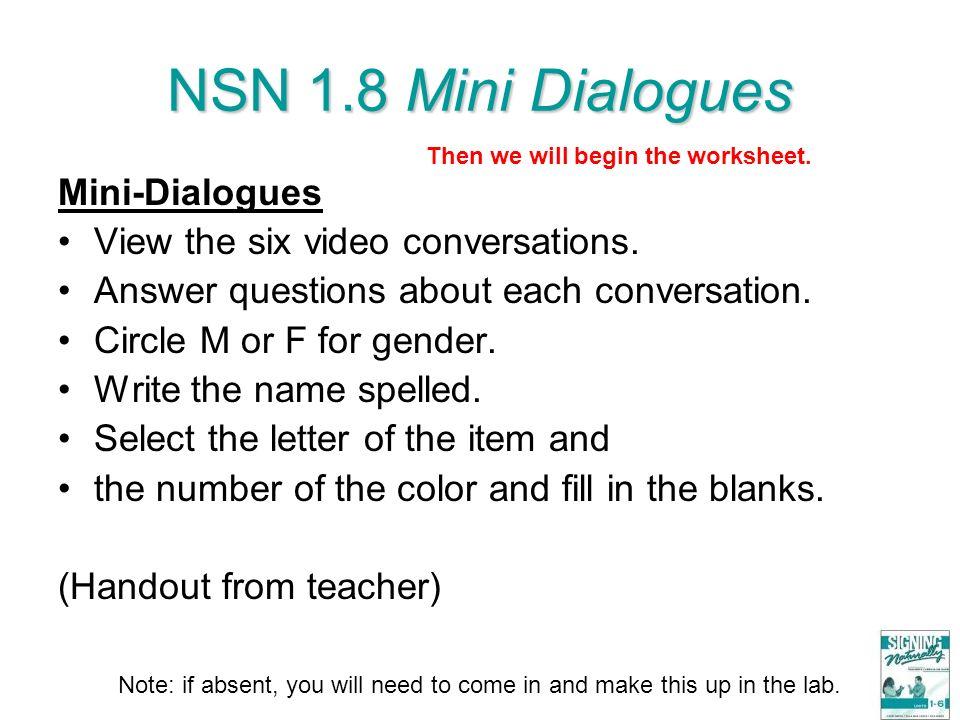 NSN 1.8 Mini Dialogues Mini-Dialogues