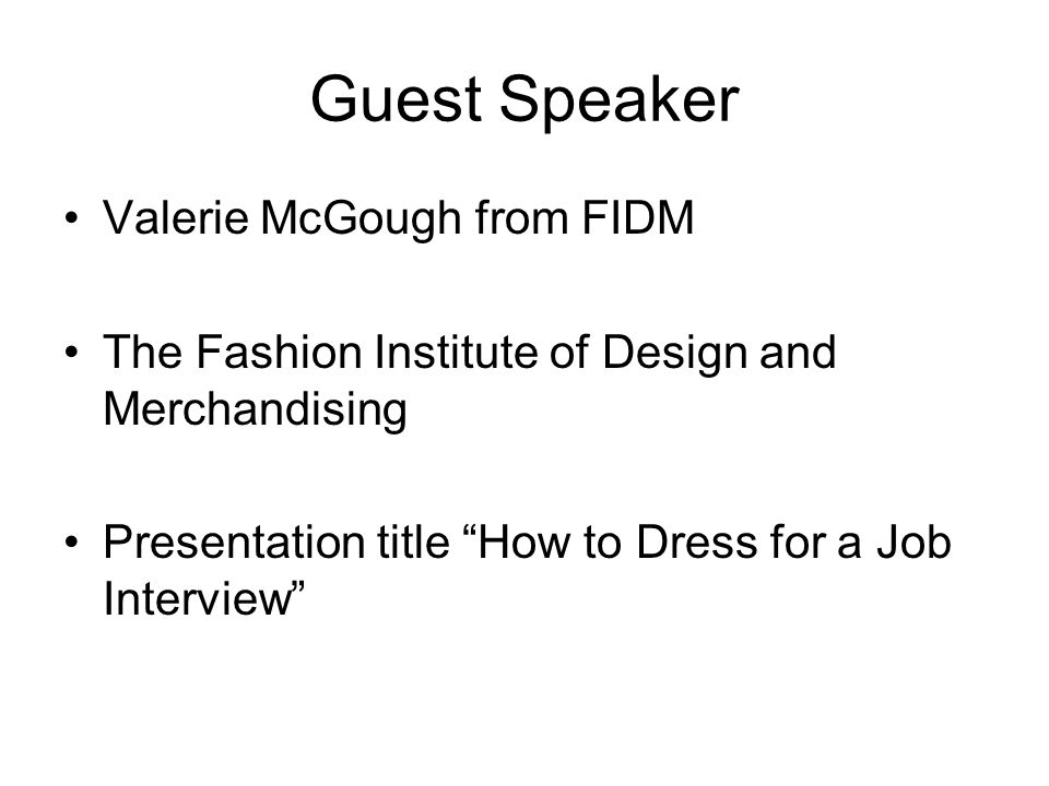 Guest Speaker Valerie McGough from FIDM