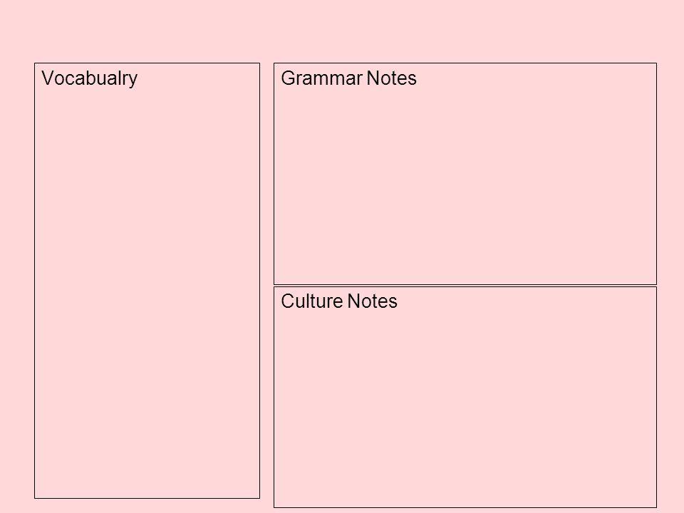 Vocabualry Grammar Notes Culture Notes