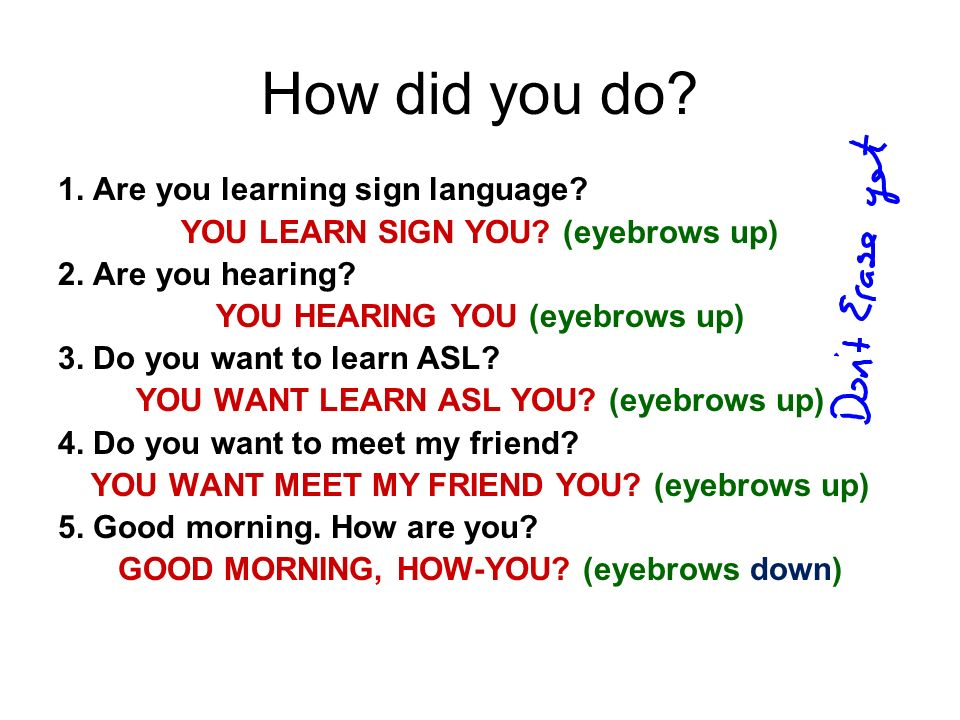 How did you do 1. Are you learning sign language
