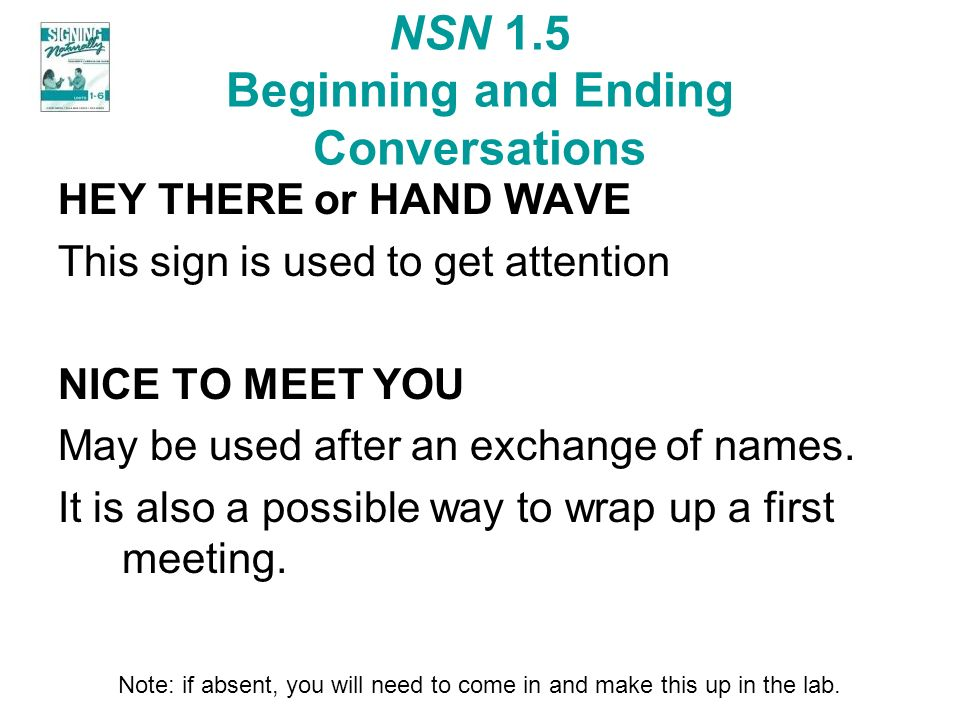NSN 1.5 Beginning and Ending Conversations