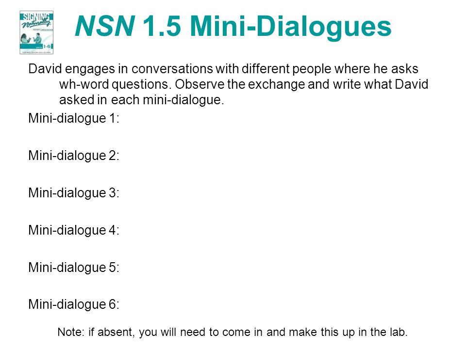 NSN 1.5 Mini-Dialogues