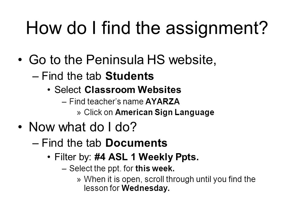 How do I find the assignment