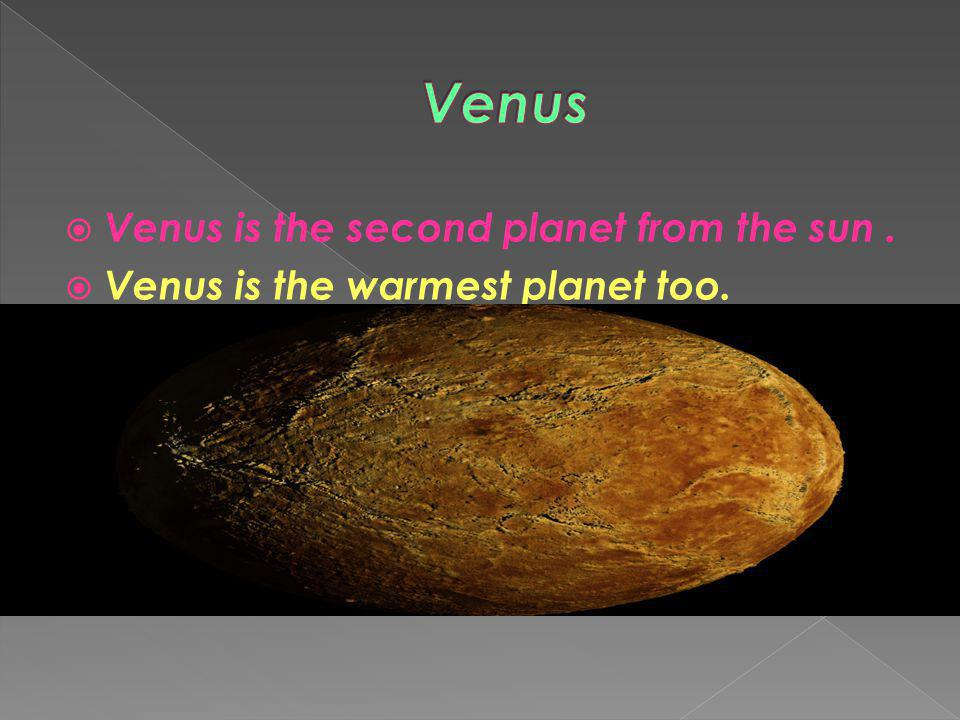 Venus Venus is the second planet from the sun .