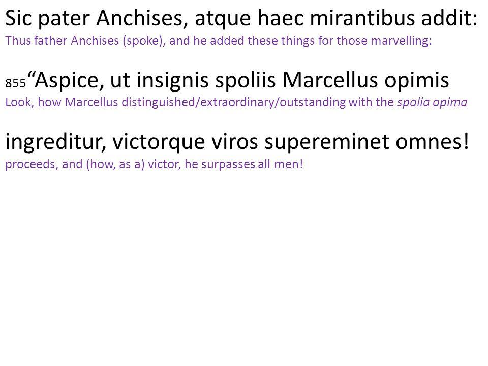 Sic pater Anchises, atque haec mirantibus addit: