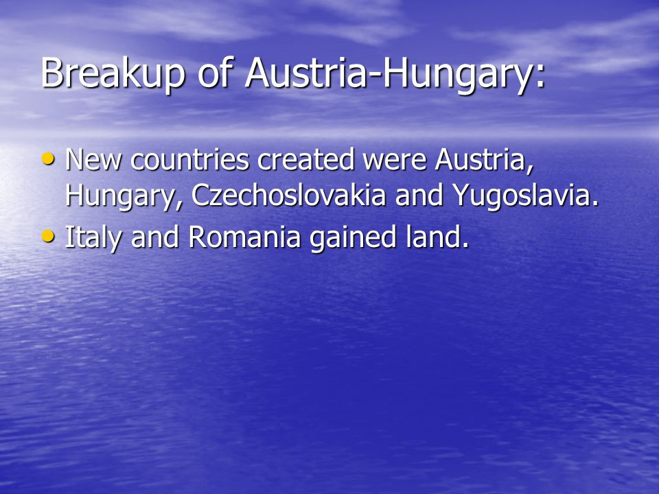 Breakup of Austria-Hungary: