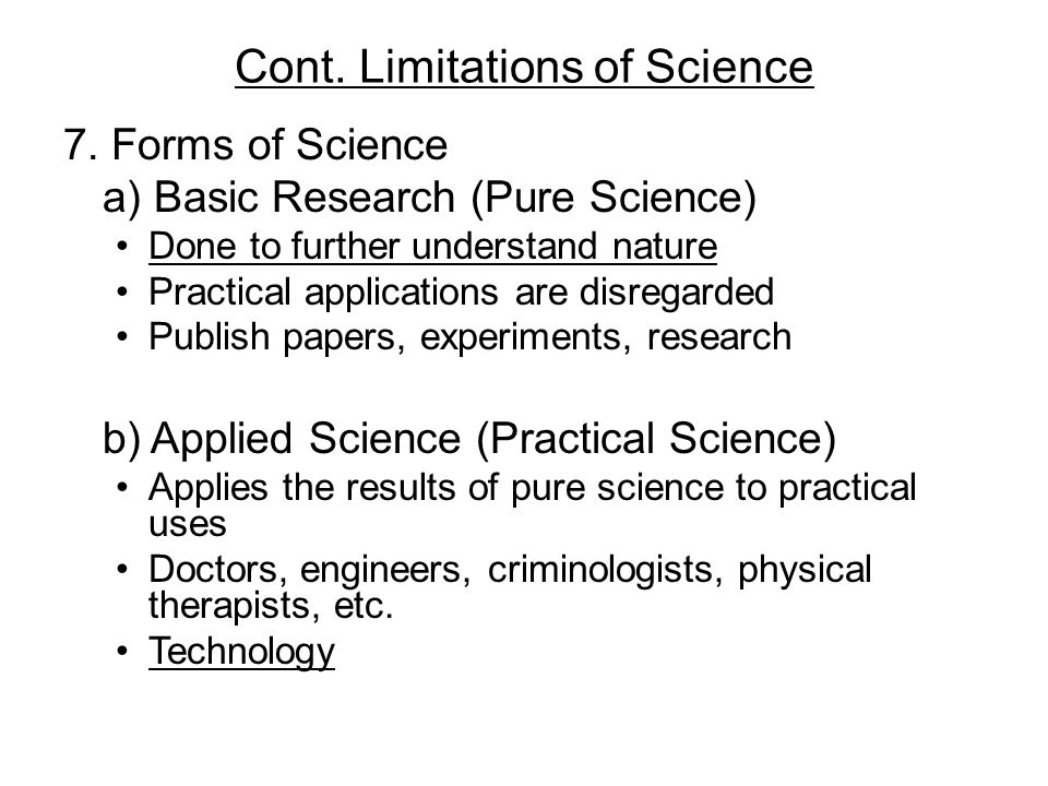 Cont. Limitations of Science
