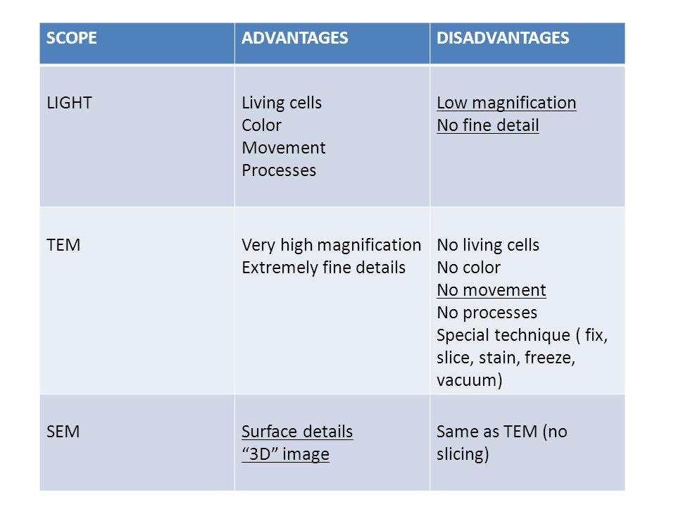 SCOPE ADVANTAGES. DISADVANTAGES. LIGHT. Living cells. Color. Movement. Processes. Low magnification.