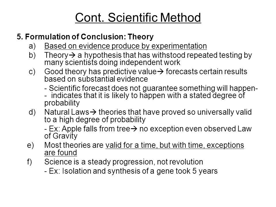 Cont. Scientific Method