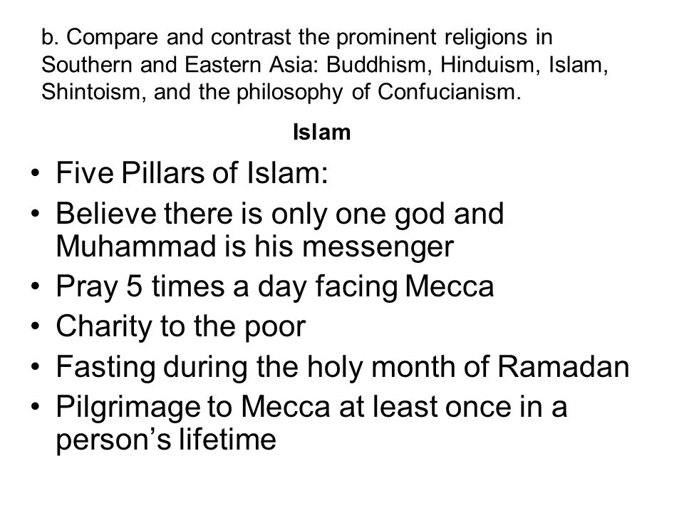 Believe there is only one god and Muhammad is his messenger