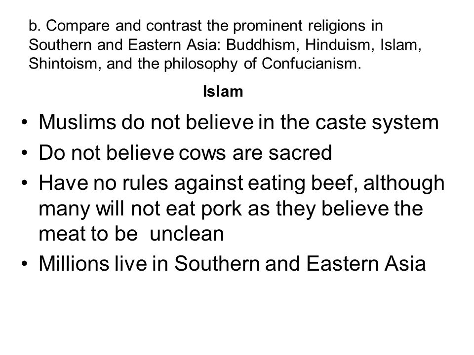 Muslims do not believe in the caste system