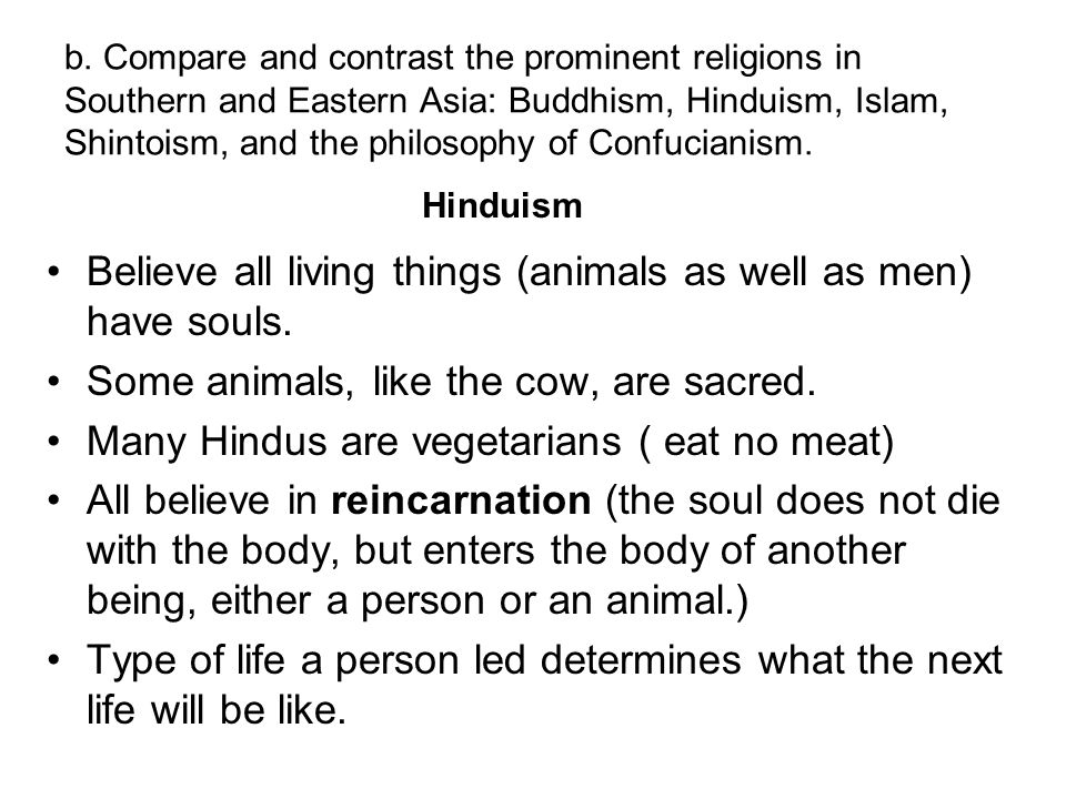 Believe all living things (animals as well as men) have souls.