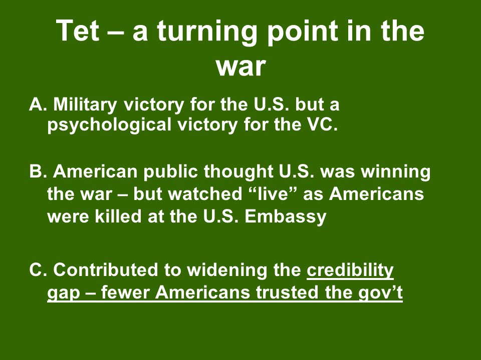 Tet – a turning point in the war