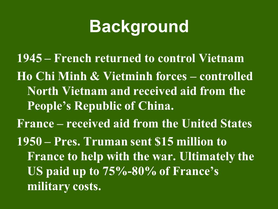 Background 1945 – French returned to control Vietnam