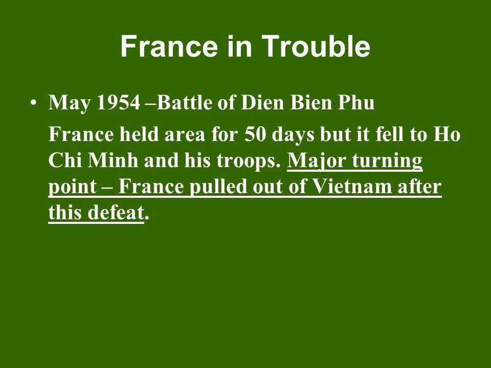 France in Trouble May 1954 –Battle of Dien Bien Phu