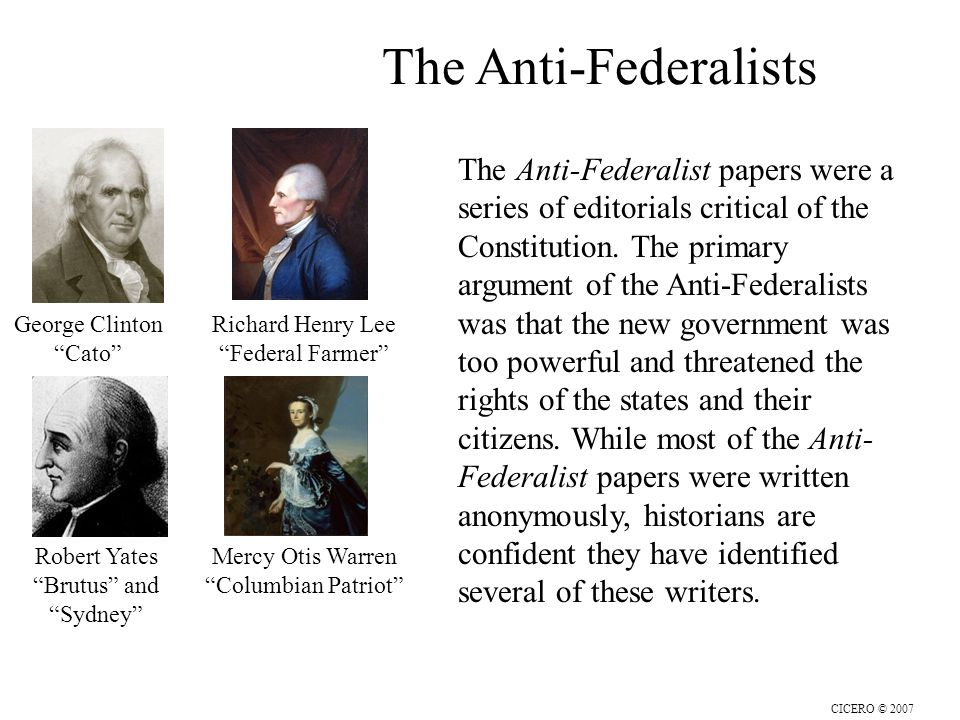 the federalists vs. the anti-federalists essay The federalist papers a nation without a national government.