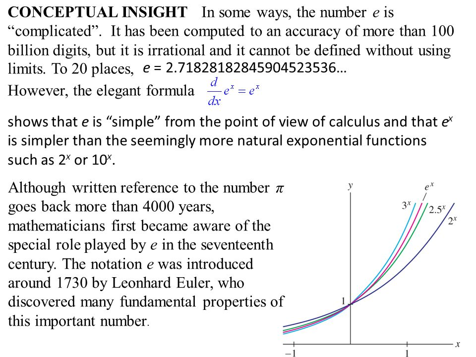 CONCEPTUAL INSIGHT In some ways, the number e is complicated