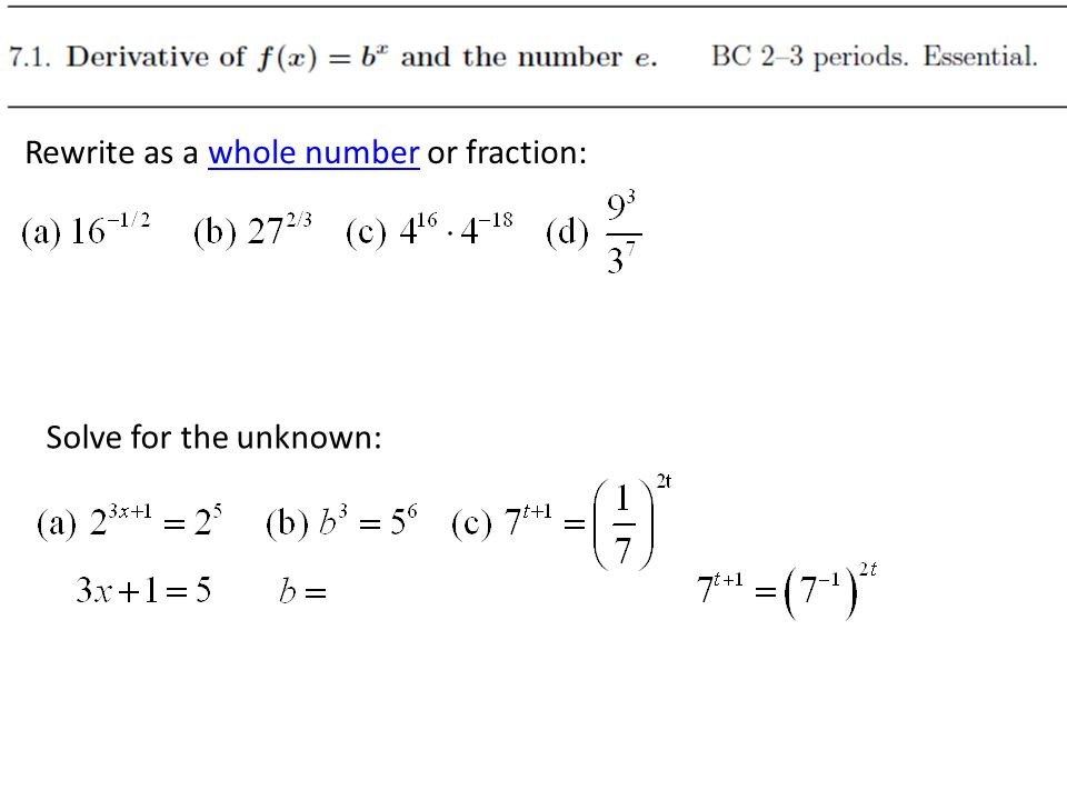 Rewrite as a whole number or fraction: