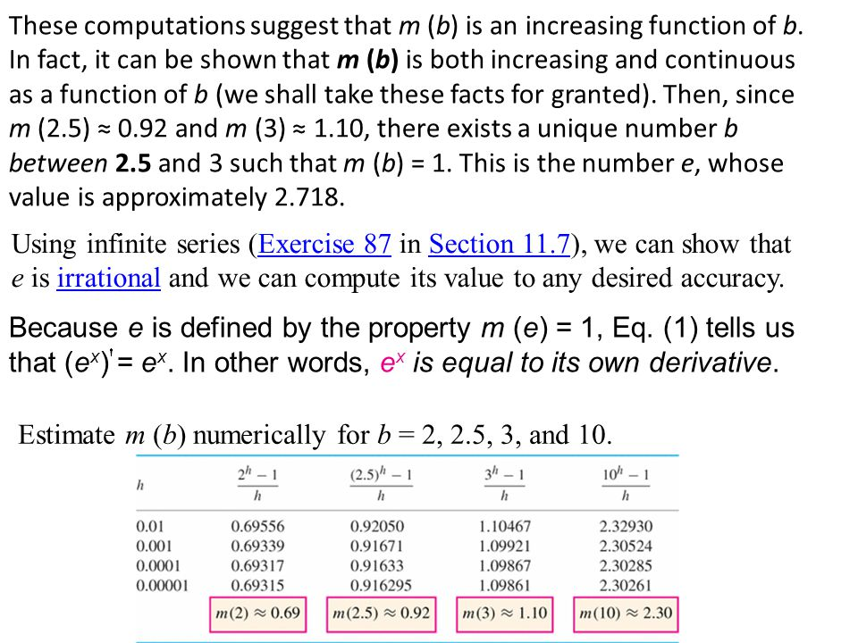 These computations suggest that m (b) is an increasing function of b