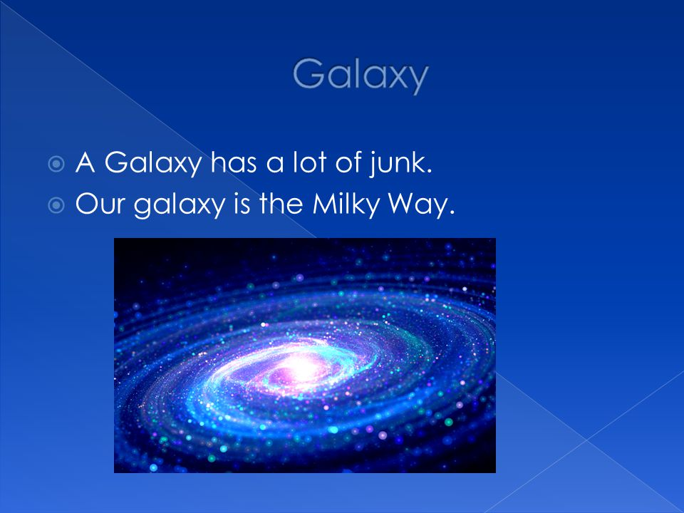 Galaxy A Galaxy has a lot of junk. Our galaxy is the Milky Way.