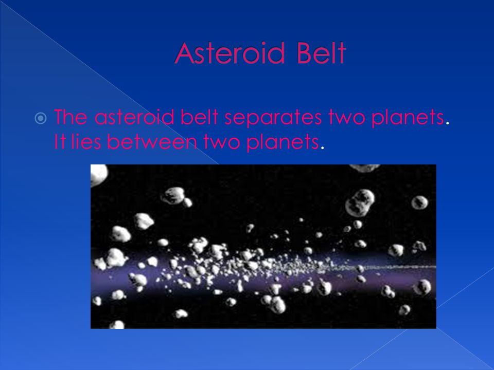 Asteroid Belt The asteroid belt separates two planets. It lies between two planets.