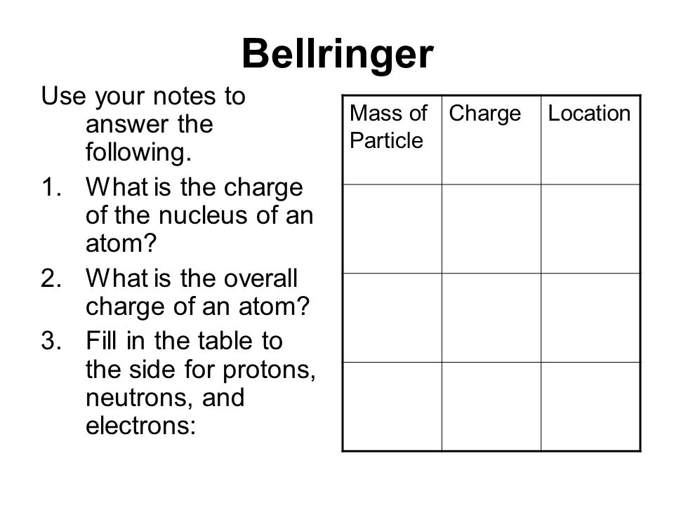Bellringer Use your notes to answer the following.