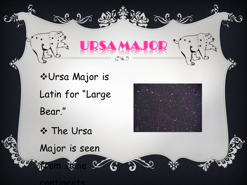 Ursa major Ursa Major is Latin for Large Bear.