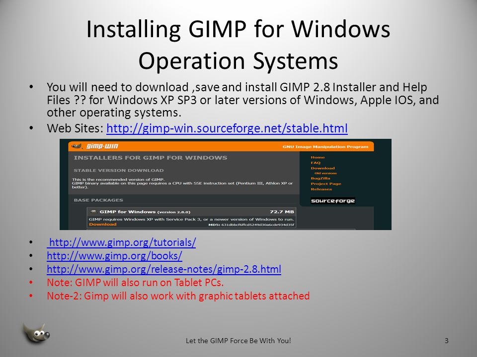 Installing GIMP for Windows Operation Systems