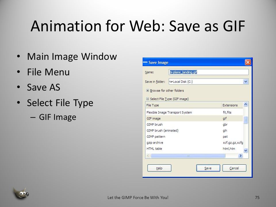 Animation for Web: Save as GIF