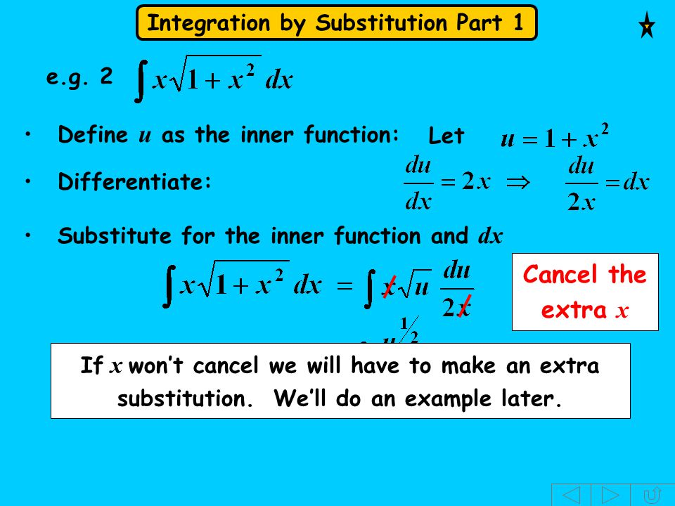 Cancel the extra x e.g. 2 Define u as the inner function: Let