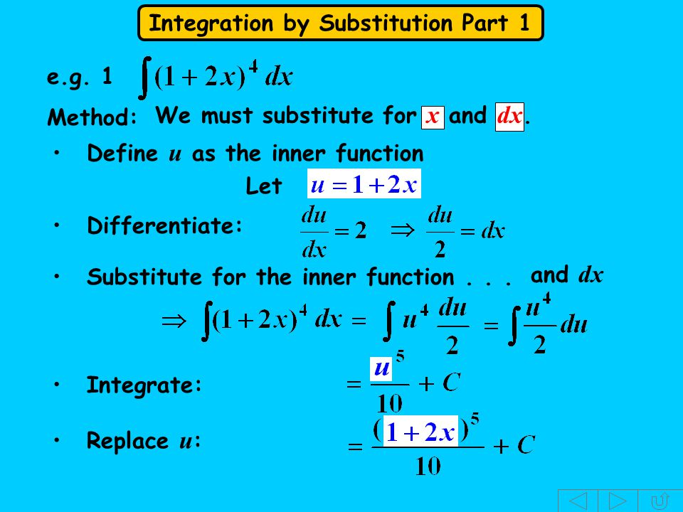 e.g. 1 Method: We must substitute for x and dx. Define u as the inner function. Let. Differentiate: