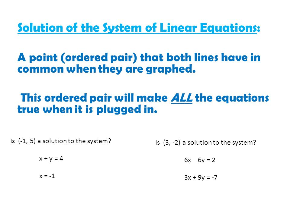 Solution of the System of Linear Equations:
