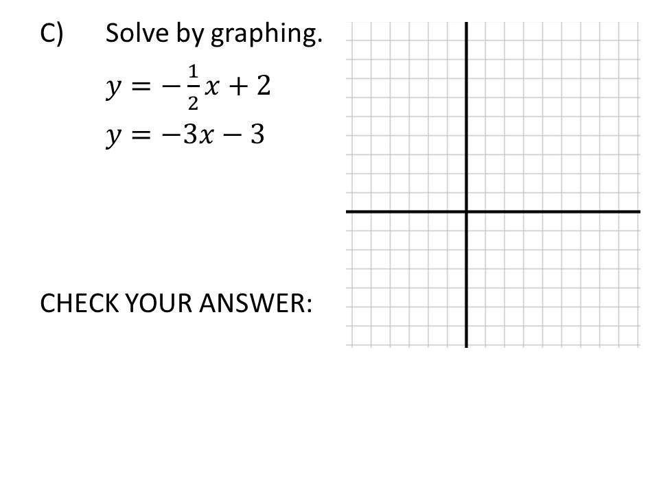 C) Solve by graphing. 𝑦=− 1 2 𝑥+2 𝑦=−3𝑥−3 CHECK YOUR ANSWER: