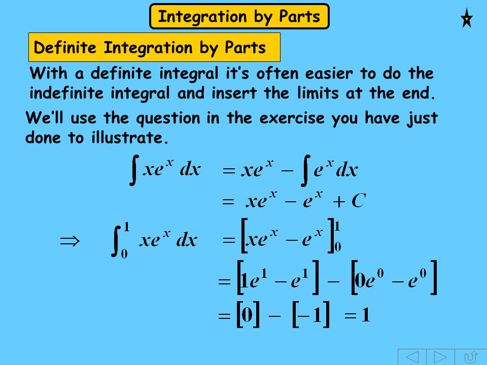 Definite Integration by Parts