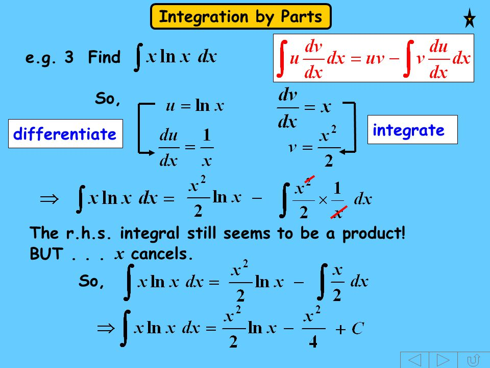 x cancels. e.g. 3 Find So, integrate differentiate