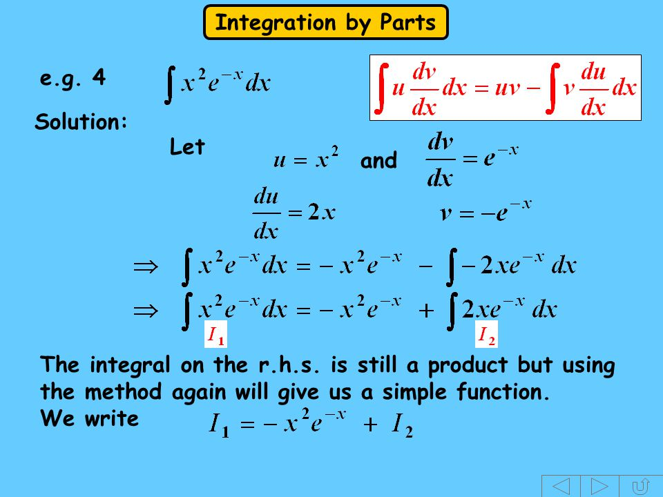 e.g. 4 Solution: Let. and. The integral on the r.h.s. is still a product but using the method again will give us a simple function.