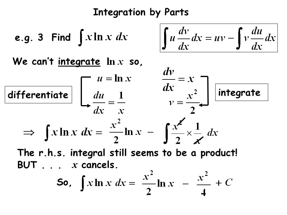 x cancels. e.g. 3 Find We can't integrate so, integrate differentiate