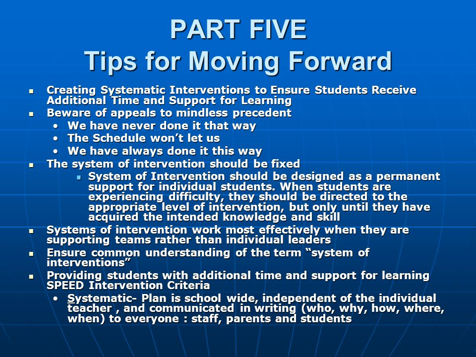 PART FIVE Tips for Moving Forward