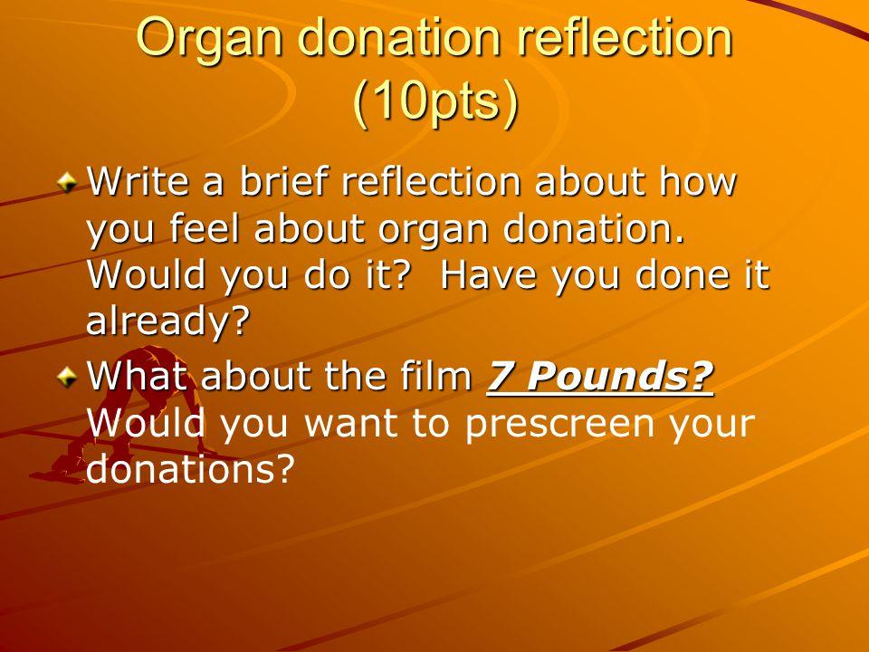Organ donation reflection (10pts)